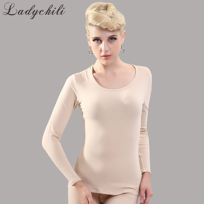 Ladychili Women Intimates Low O Neck Cotton Thin Soft Long Johns Heated Inner Clothing Winter Keep Warm Thermal Underwear K10