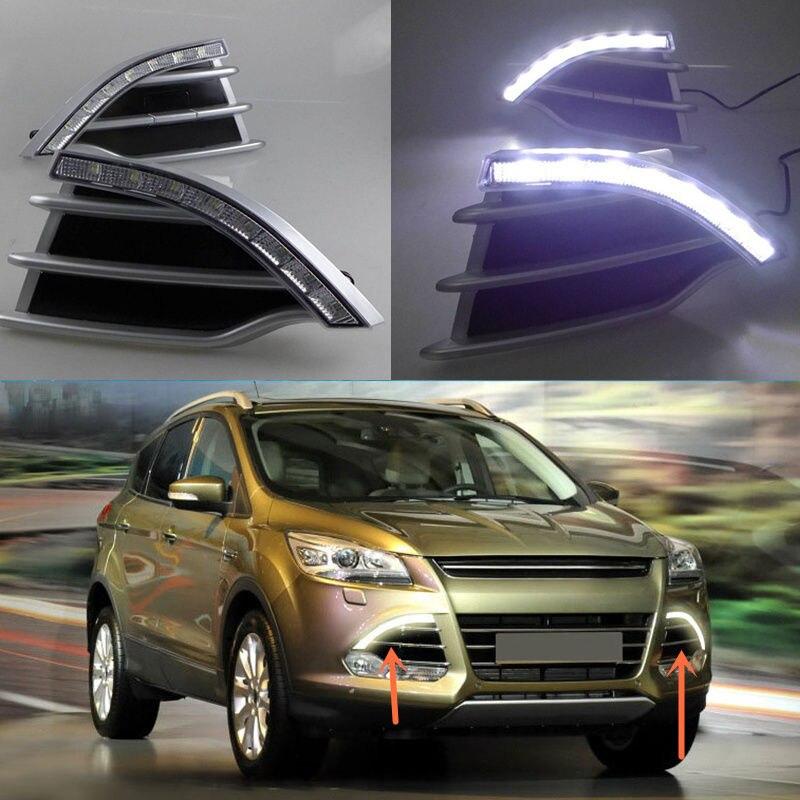 A Set White LED Daytime Running Light DRL Fog Lamp for Ford Kuga 2013-2016A Set White LED Daytime Running Light DRL Fog Lamp for Ford Kuga 2013-2016