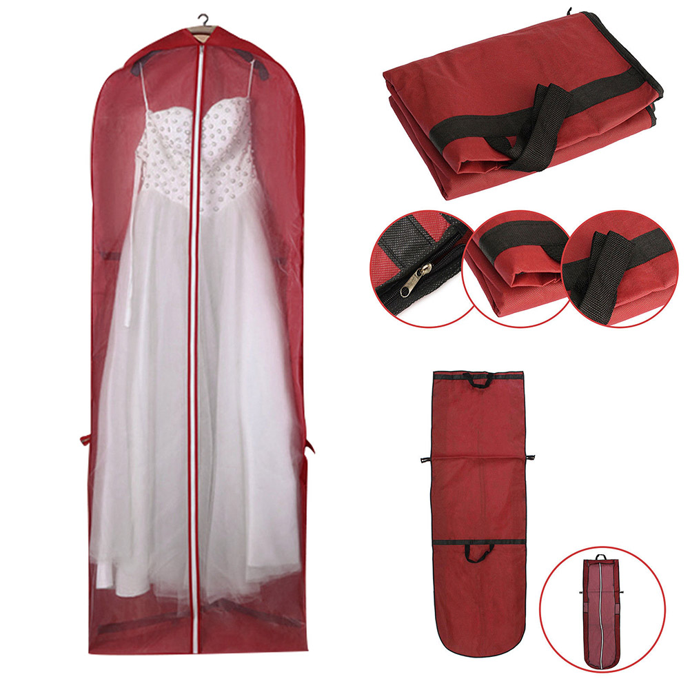 Garment Dress Cover Dustproof Storage Bag Foldable Long Bridal Wedding Dresses 66CY(China)