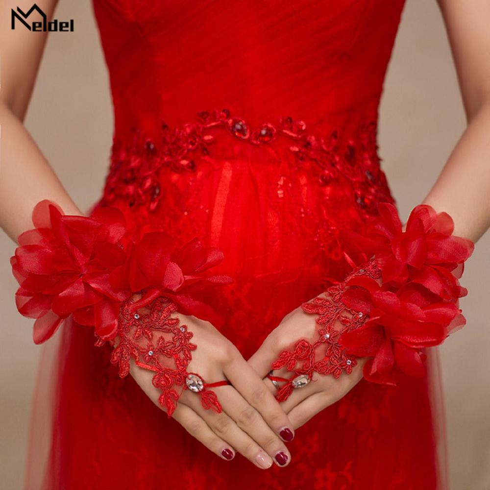 Wedding Accessories Short Red High Quality Crystal Wedding Gloves Elegant Bridal Gloves