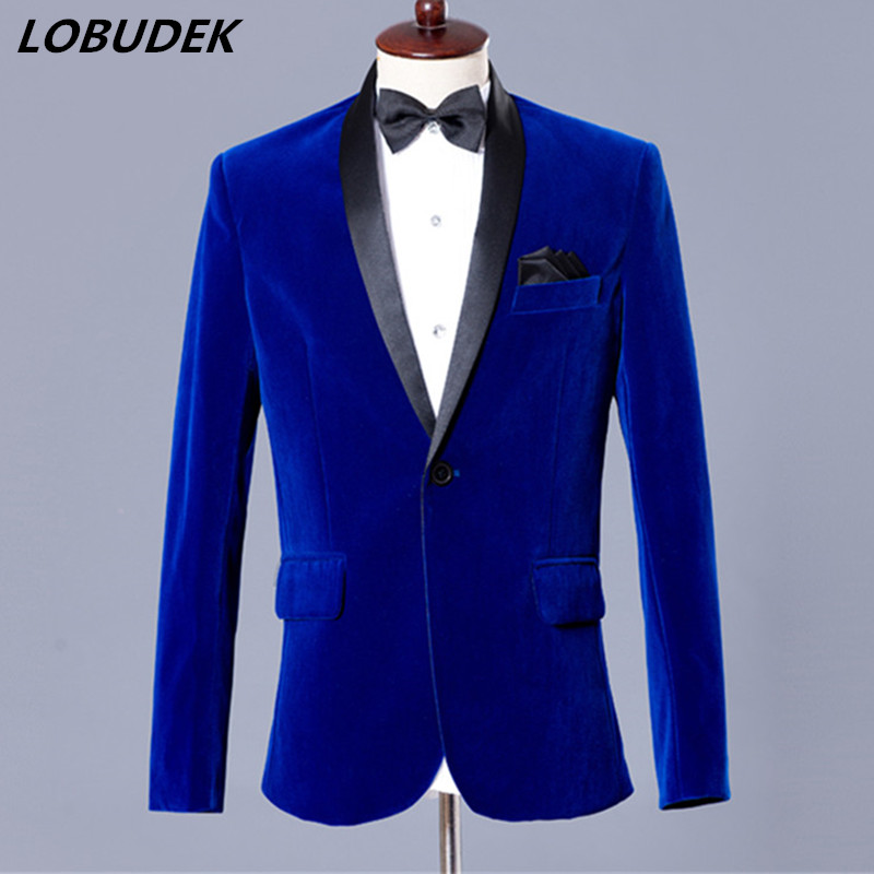 Mens slim Costumes Casual dress Male Prom Party Velveteen suits Bar singer Host stage Blue Wine red Blazers Groom Wedding Coat