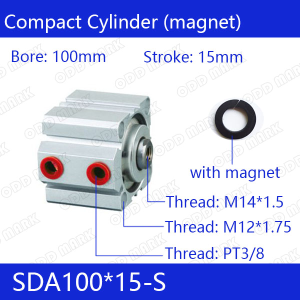 SDA100*15-S Free shipping 100mm Bore 15mm Stroke Compact Air Cylinders SDA100X15-S Dual Action Air Pneumatic Cylinder cxsm15 15 high quality double acting dual rod air cylinder pneumatic 15mm bore 15mm stroke cxsm 15 15 with slide bearing