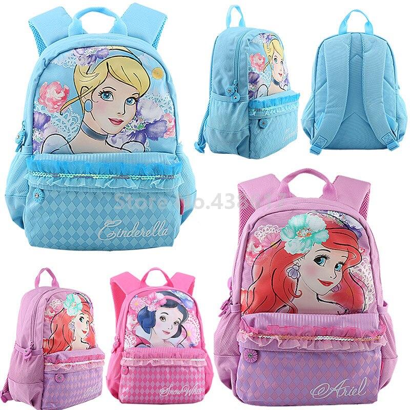 Us 28 5 Watercolor Little Mermaid Ariel Cinderella Snow White Princess S School Bags For Kindergarten Preschool Backpack Bag In