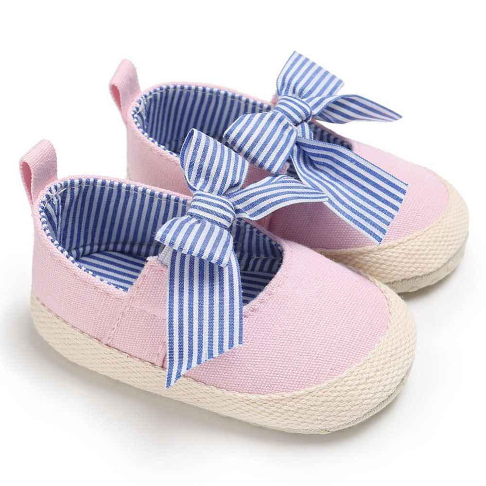 Baby Girls Anti-slip Design Soft Soled Big Bow Shoes Princess Infant Toddler Crib Baby First Walk Shoes Canvas Striped Shoes