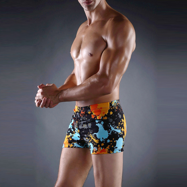 Mens Floral Printed Pattern Beachwear Sexy Swimwear Shorts Surf Swimsuit Swim Trunks