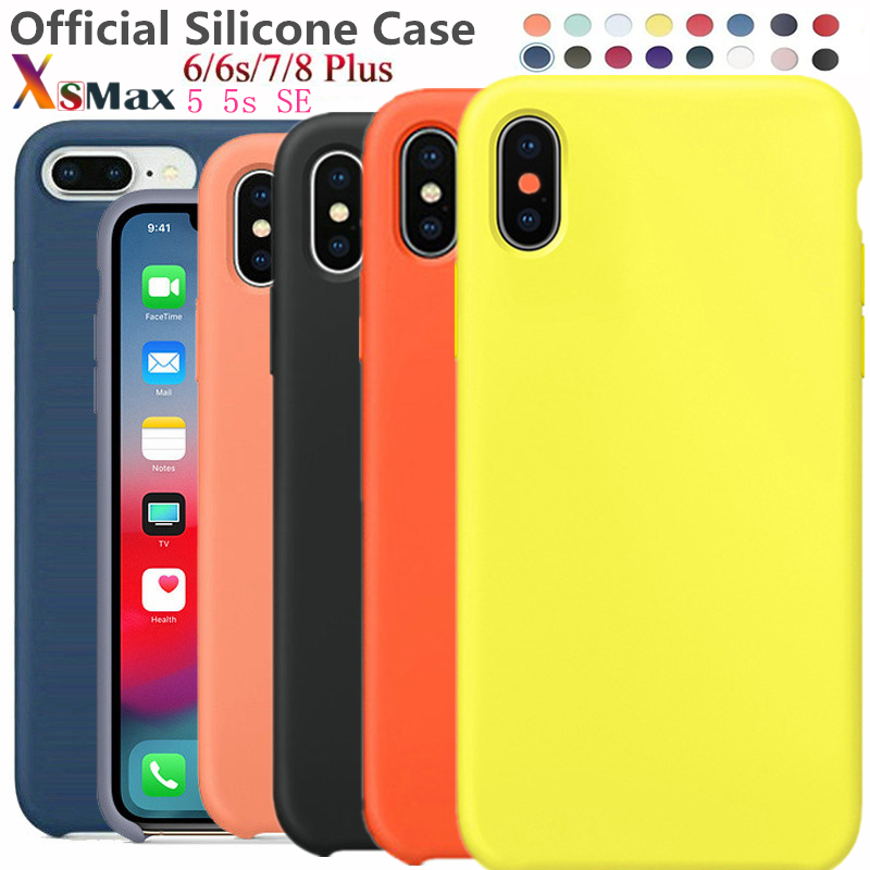 Have LOGO Original official Silicone Case For iphone X XS Max XR Case For  Apple For iPhone 7 8 6 6s Plus Case For 5 5s SE Cover