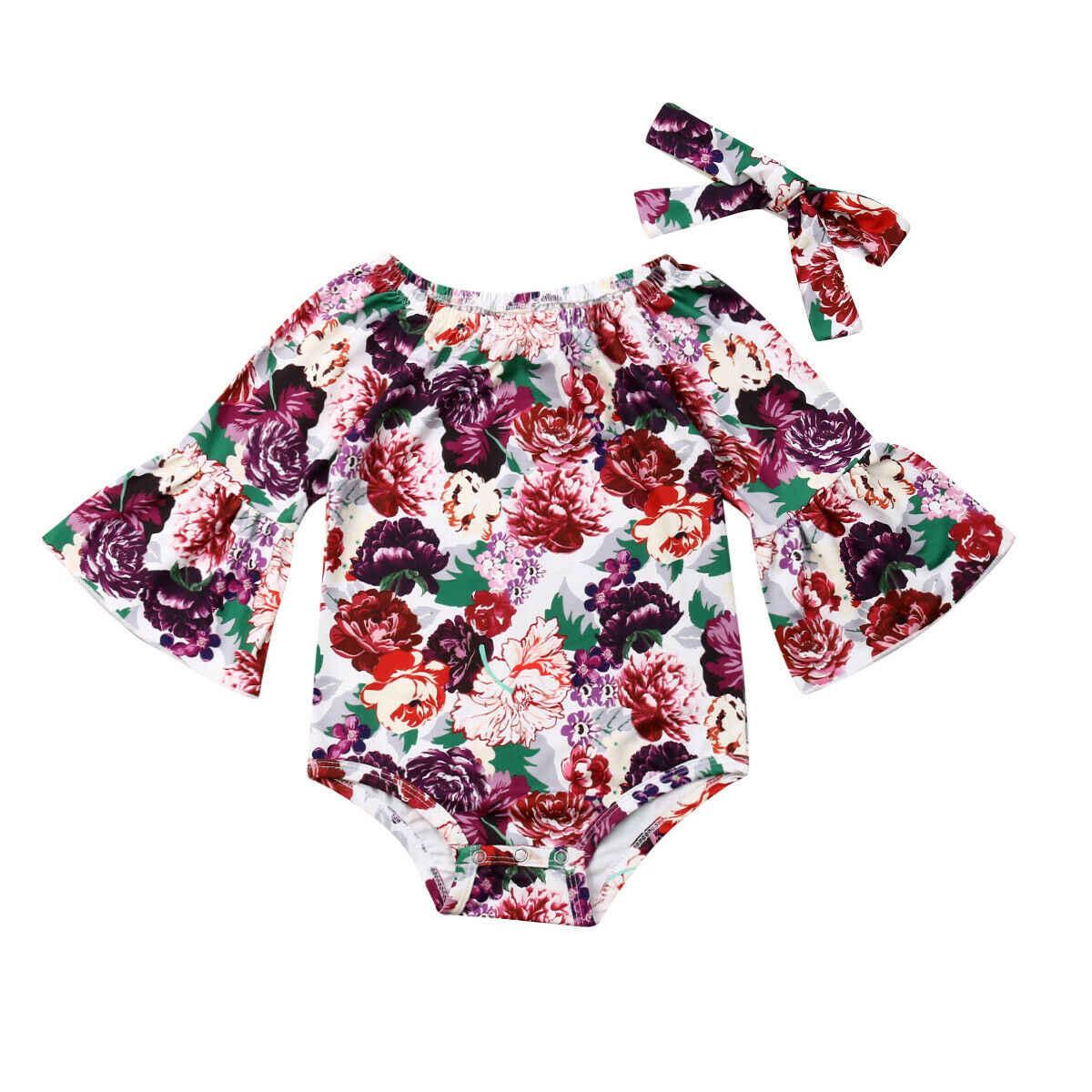 2019 Канис Лето милый, для новорожденных девочек длинными расклешенными рукавами и цветочным принтом + повязка на голову Повседневный обтягивающий костюм 0-24 M