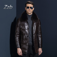 2018 Men's Leather Jacket Down Coat Winter Jackets for Men Sheepskin Duck Down Jacket Stand Fox Fur Collar Quality Leather Coat
