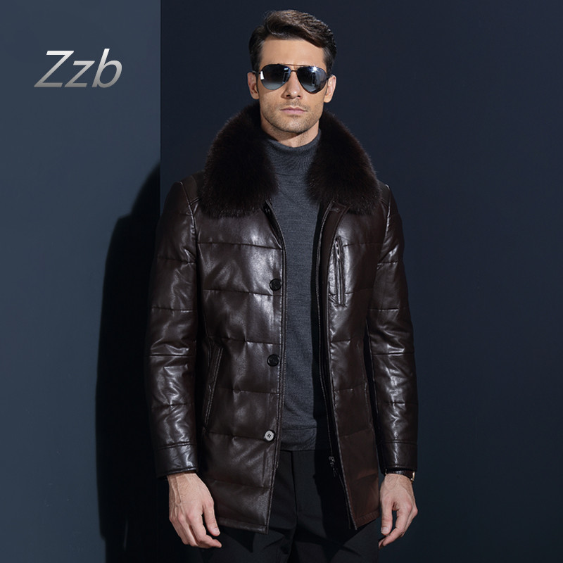 2018 Mens Leather Jacket Down Coat Winter Jackets for Men Sheepskin Duck Down Jacket Stand Fox Fur Collar Quality Leather Coat