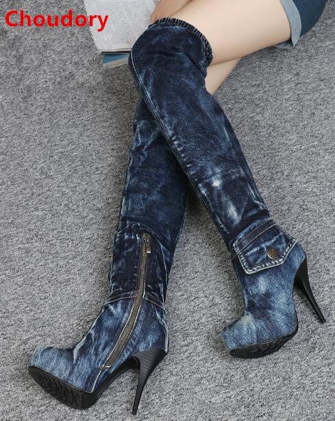 Spring autumn navy blue denim boots thin high heels platform long boots side zipper over the knee high boots motorcycle boots