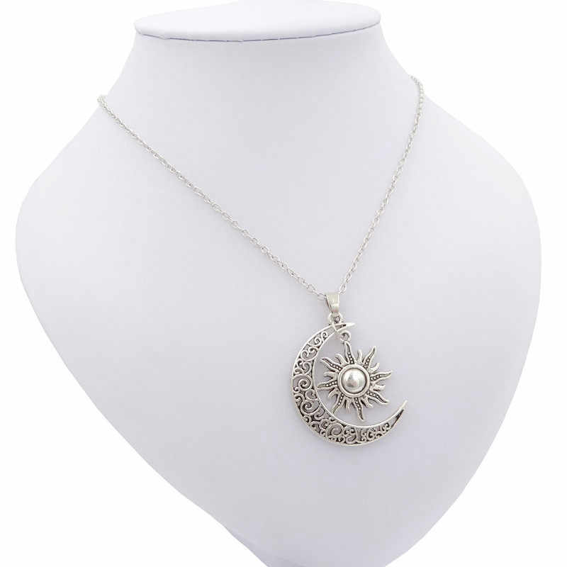 2018 nuevo fresco antiguo sol Vintage Luna colgante collar plata media luna cadena collares para mujeres joyería de moda mejor regalo