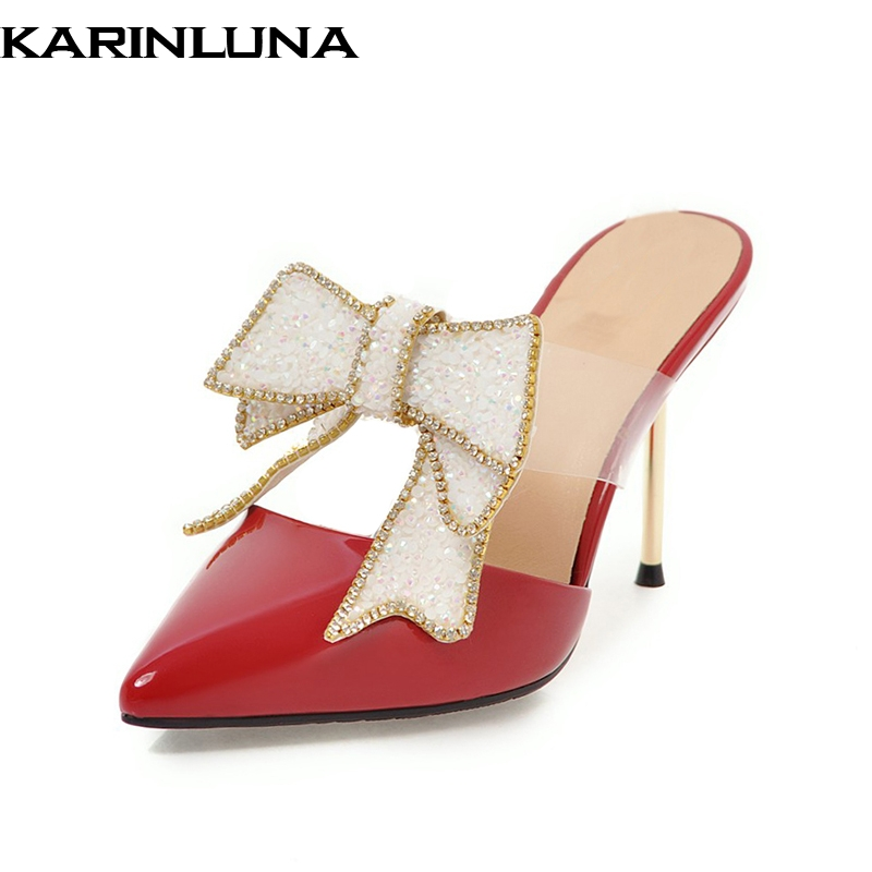 KARINLUNA 2018 Cow Leather Bowtie Slip On Plus Size 32-43 Thin High Heels Women Pumps Pointed Toe Mules Pumps Shoes sweet women high quality bowtie pointed toe flock flat shoes women casual summer ladies slip on casual zapatos mujer bt123