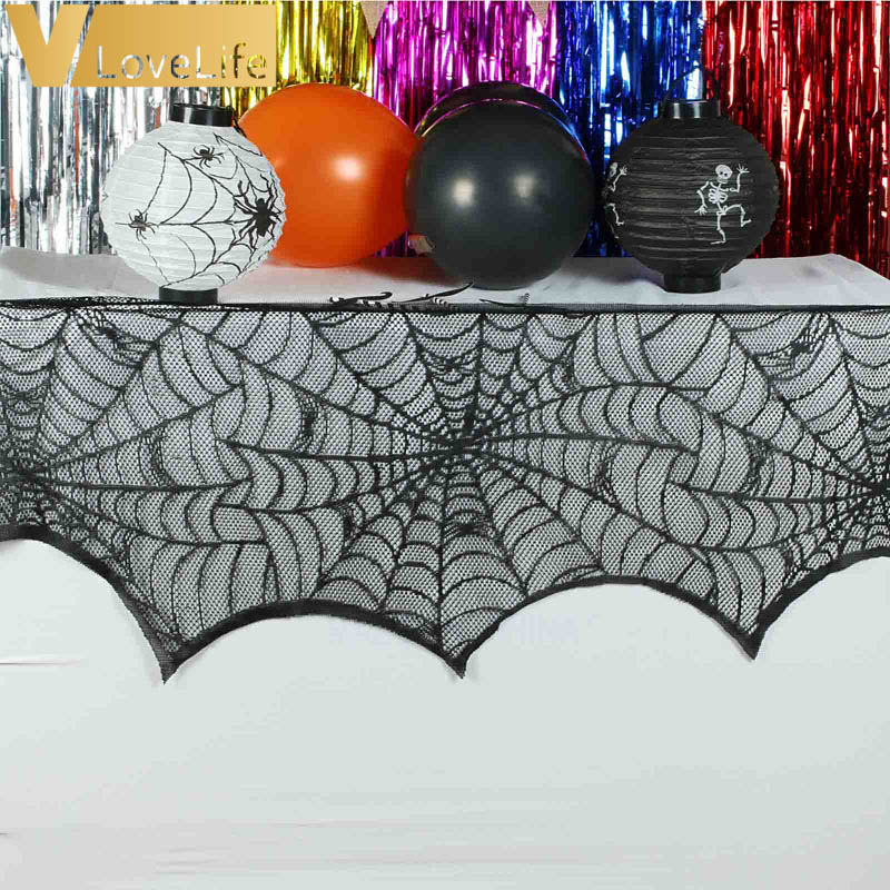 Halloween Party Supplies Fireplace Mantle Scarf Cover Black Lace Spiderweb  Table Cloth For Halloween Decoration 45cm X 243cm In Party DIY Decorations  From ...