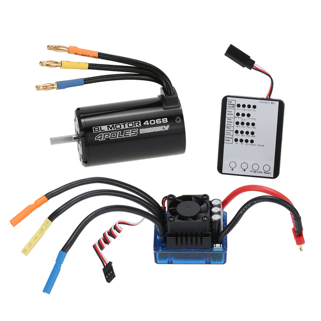 4068 2050KV Brushless Motor  120A Brushless ESC  LED Programming