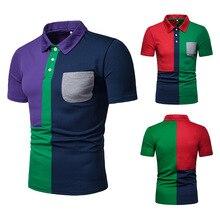 New Arrival Men Polo Shirt Pocket Patchwork Male Polo Shirt Turn-Down Collar Men's Polo Short Sleeve недорого