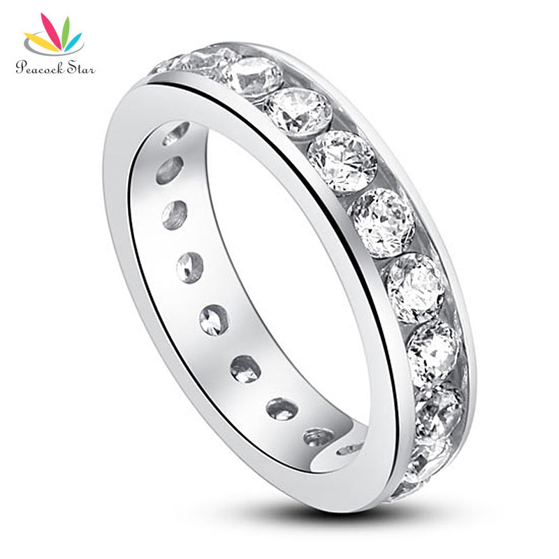 Peacock Star Solid 925 Sterling Silver Eternity Wedding Band Ring Jewelry CFR8004