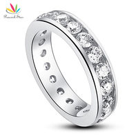 Drop Shipping Free Channel Setting Simulated Diamond 925 Sterling Silver Eternity Band Wedding Anniversary Ring CFR8004