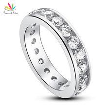 Pavo real Estrella Sólida Plata de ley 925 Anillo de Eternidad Wedding Band Joyería Creado Diamond CFR8004