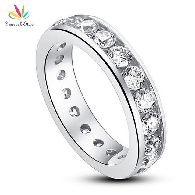 Peacock Star Solid 925 Sterling Silver Eternity Wedding Band Ring Jewelry Created Diamond CFR8004