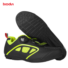 No-lock Rotating Buckle Cycling Shoes Men Road & Mountain Bike Shoes Cycling MTB Sneakers with Hook Loop Non-slip Rubber Sole santic men cycling sports shoes riding boost power shoes no lock non slip mtb road bike professional competition riding shoes