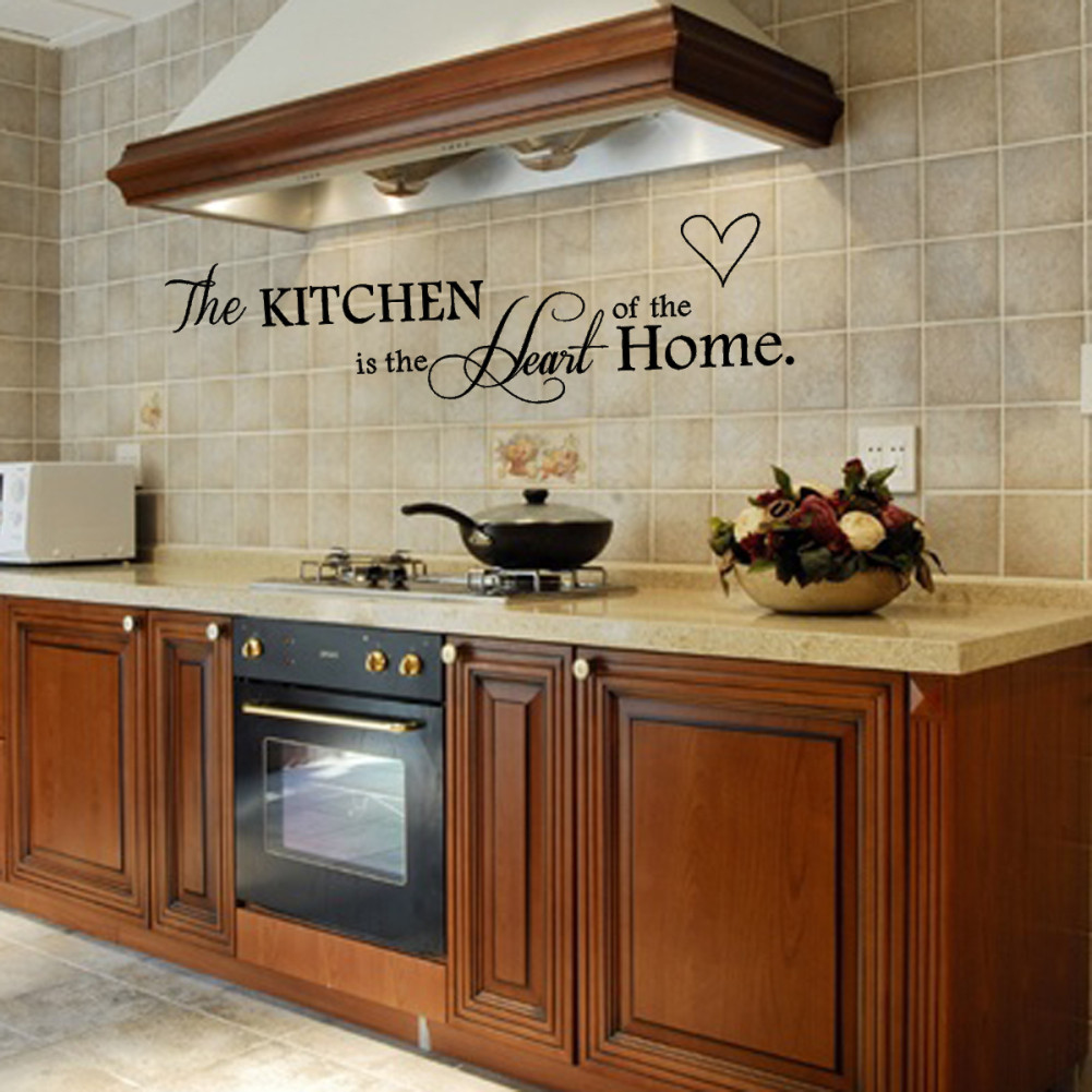 Removable Black Quote Kitchen Heart English Letters Design Wall