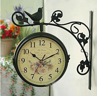 Handmade metal wall style home decoration flower vine wrought iron double-sided double-sided wall clock