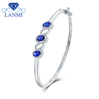 Wholesale Natural Blue Sapphire Wedding Bracelet Design Solid 18K White Gold Promised Diamond Genuine Gemstone Fine