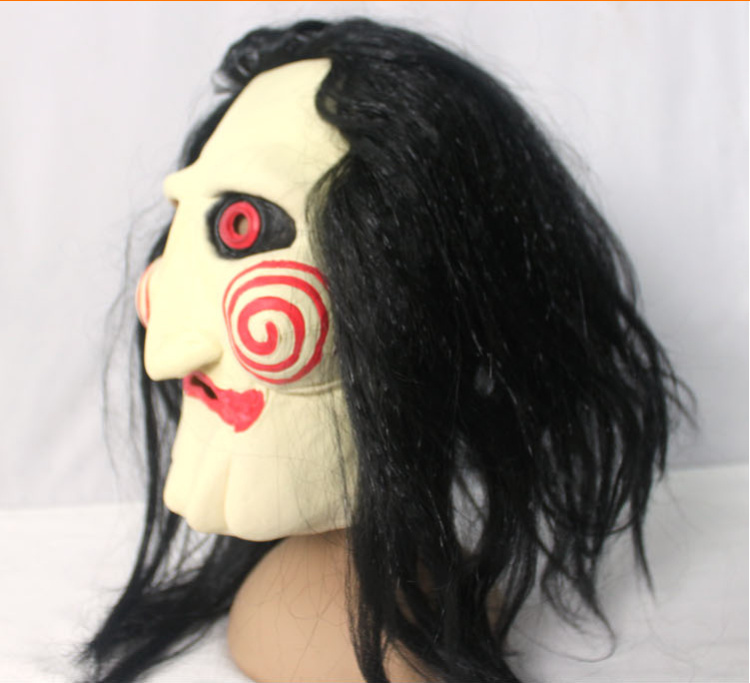 halloween costumes movie saw mask jigsaw puppet creepy scary mask with hair for men cosplay face mask in costume accessories from novelty special use on
