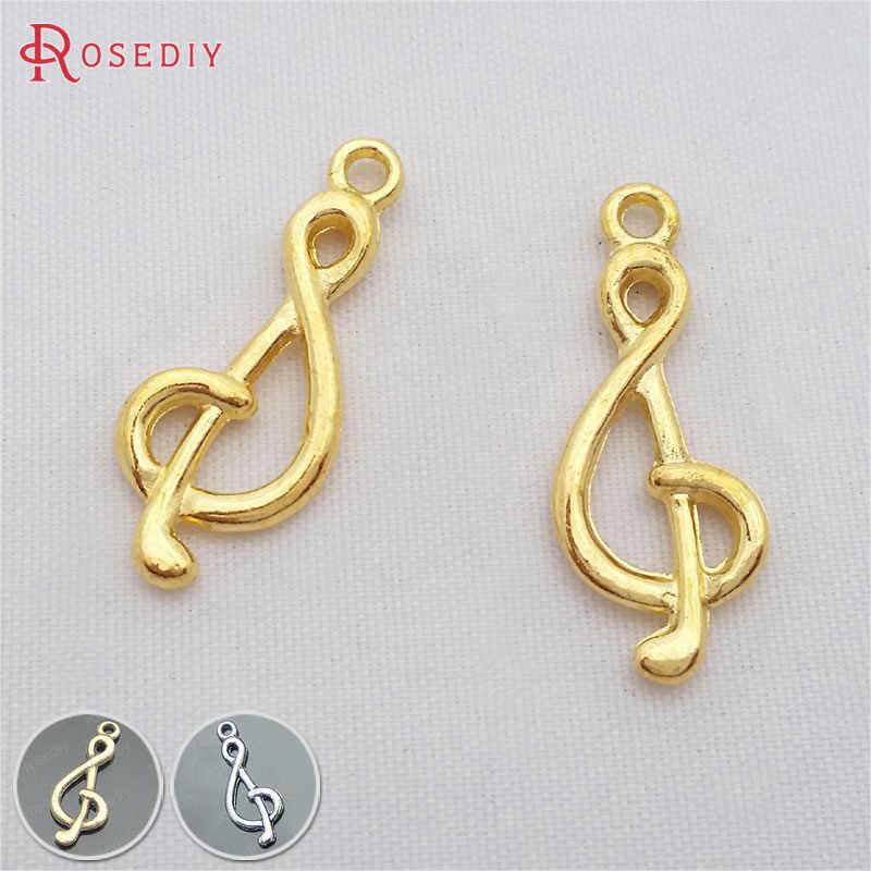 (29247) 20 piezas 26x10MM chapado en oro de aleación de Zinc símbolo de música colgantes de joyería Diy Accesorios al por mayor