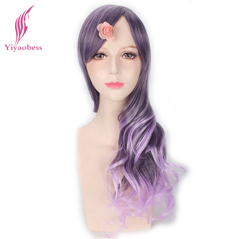 Yiyaobess 22inch Synthetic Womens Purple Ombre Cosplay Wig Heat Resistant Long Wavy Wigs For Party ...