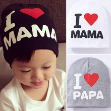 Baby Party Hats Toys Newborn Boys I love Mama/Papa Toys Beanie Photography Props Gifts For Bay Knitted Hat Toys For Children(China)