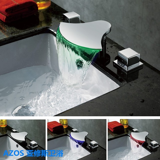 Contemporary Color LED Chrome Waterfall 3 Holes Sink Faucets Mixer ...