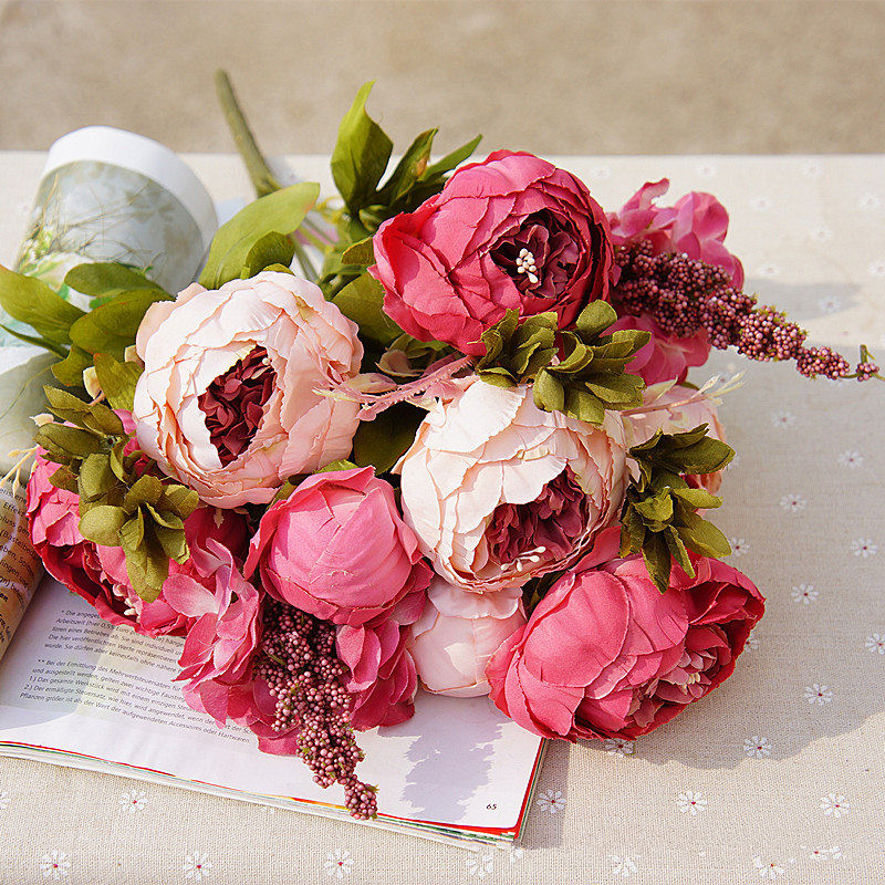 1Bunch Peony Silk Fake Artificial Flowers For Home And Hotel Decoration 8