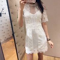High Quality Runway Dress Women Sexy Embroidery Lace Mini Dresses Female Holiday Party Whit Dress