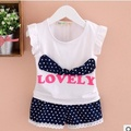 Free shipping 2016 new summer baby clothing sets baby girl's Chiffon flying sleeves letter printing Suits A032