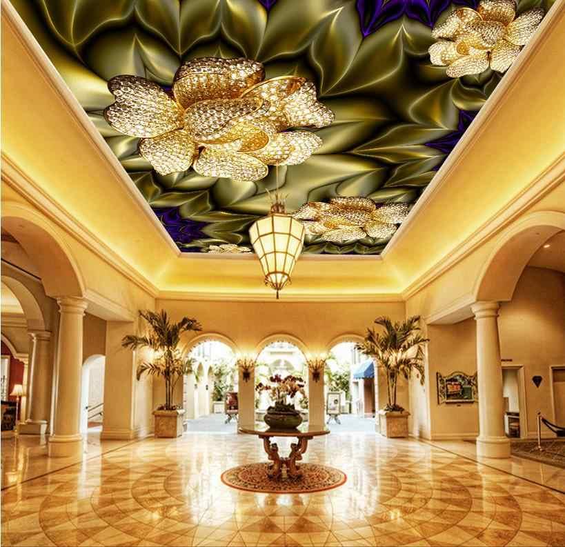 Luxueux 3D plafond peintures murales belle fleur plafond papier peint pour chambre mode non-tissé 3D plafond salon
