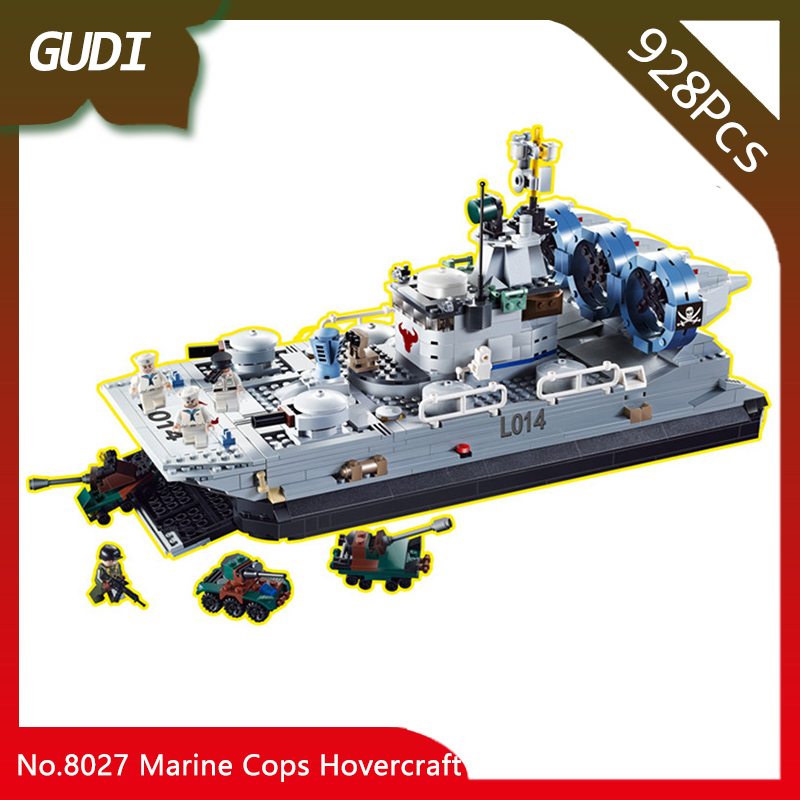GUDI 8027 928pcs Military Series The Marine Cops Hovercraft Model Building Blocks Set Bricks Educational Toys For Children Gifts