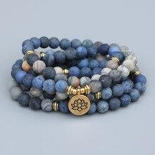 EDOTHALIA 108 Beads Mala Lotus Bracelet 8MM Matte Blue Stone & Picasso Stone Women Men Meditation Yoga Bracelets Drop ship