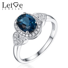 Leige Jewelry London Blue Topaz Ring Natural Gemstone Wedding Promise Rings for Women Fine Jewelry Oval Cut  Christmas Gift