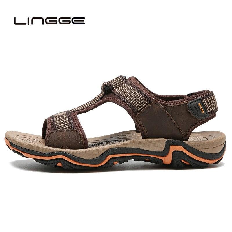 LINGGE Summer Beach Sandals Men Shoes High Quality Cow Leather Sandal Fashion Mens Sandals Outside Shoes Size 39-45 #2627