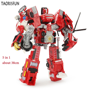 Image 5 - Taorisfun 합금 및 플라스틱 2 in 1 변형 로봇 자동차 차량 모델 완구 어린이 완구 소방차 변환 로봇