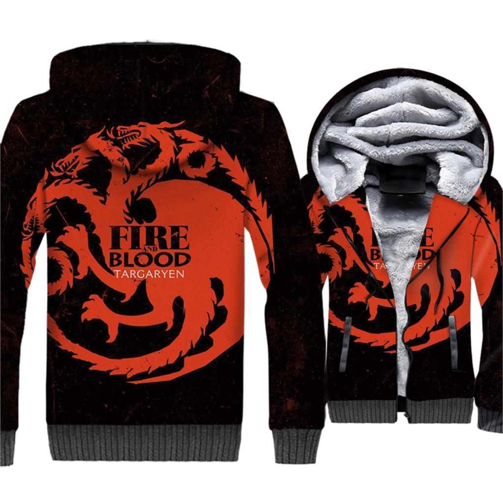 Game of Thrones Dragon 3D Print Hoodie Men Fire Blood Targaryen Sweatshirt Winter Fleece Zip up Coat House Targaryen Jacket Mens