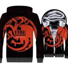 купить Game of Thrones Dragon 3D Print Hoodie Men Fire Blood Targaryen Sweatshirt Winter Fleece Zip up Coat House Targaryen Jacket Mens онлайн