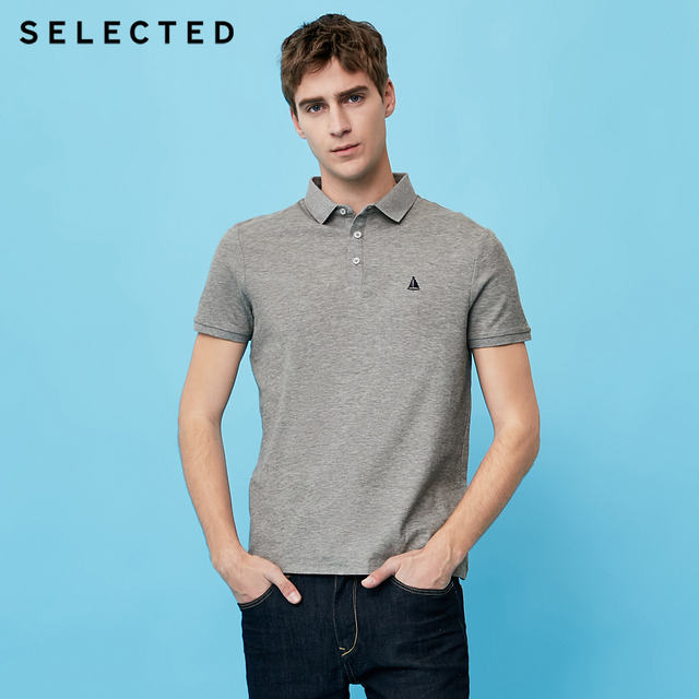 SELECTED new men's cotton embroidered casual shorts-sleeve lapel  T-Shirt S|41823Z525