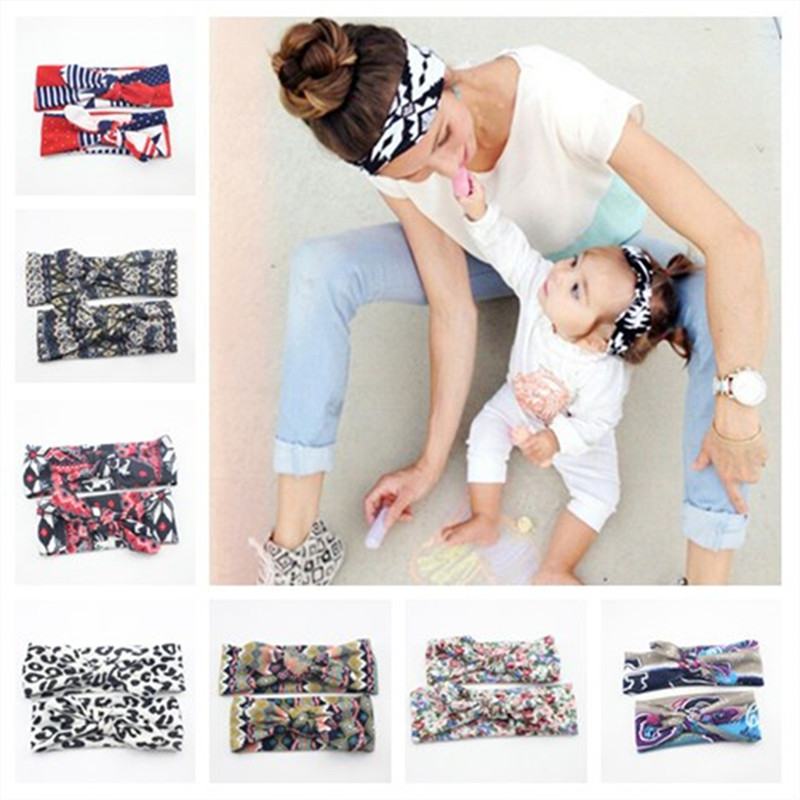 1 Set Mom and Baby Boho Turban Headband Top Knot Rabbit Ears Elastic Hair bands Bows Headband Mommy and Baby Headwrap Hairband