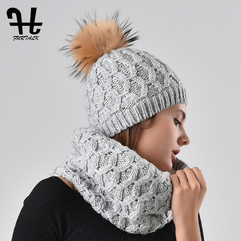 16aceceeba7b4 ... Furtalk winter women knitted hat and scarf set raccoon fur pom pom  beanie hat scarves for ...
