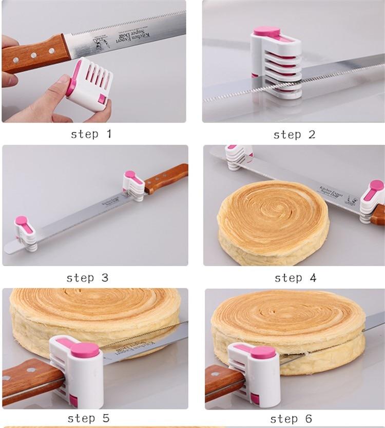 Plastik 2pcs Dapur DIY Cake Roti Cutter Leveler Slicer Cutting - Dapur, makan dan bar - Foto 4