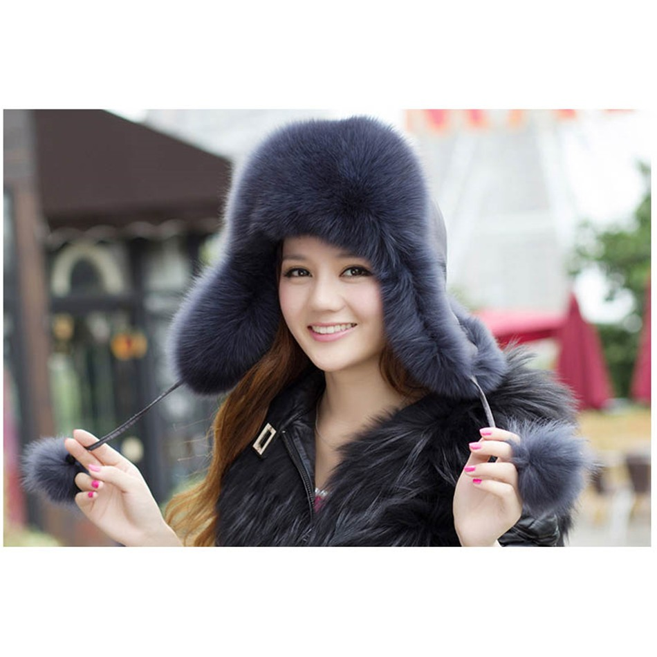 On Sale 100% Real Fox fur Women's Russian Ushanka Aviator trapper snow skiing Hat caps earflap winter raccoon fur Bomber hat 24