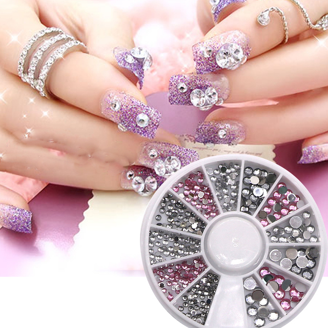 1pc 3d Nail Art Decorations Jewelry White Pink Nail Rhinestone For