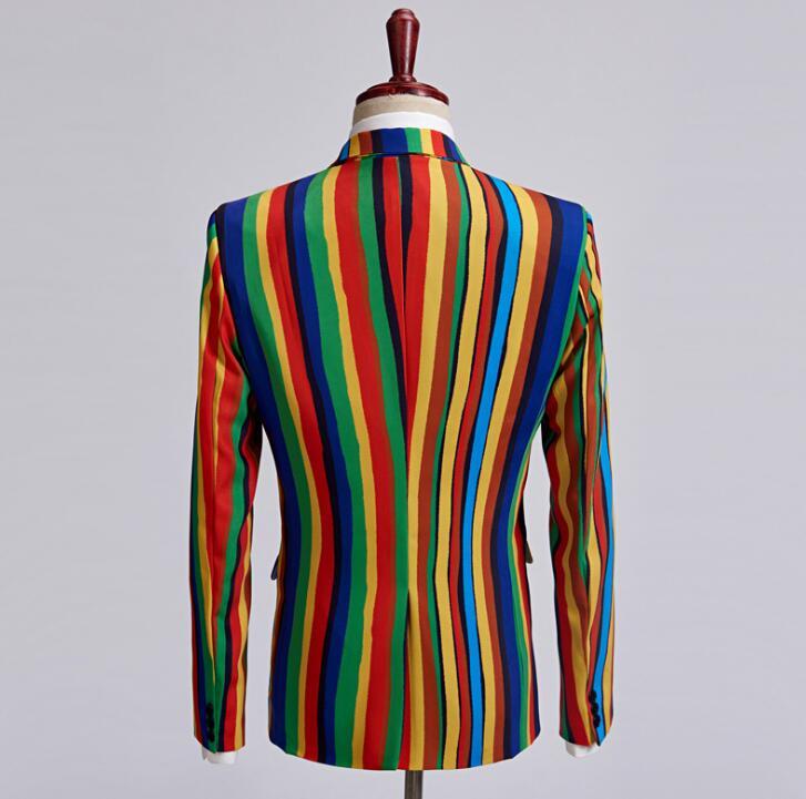 Coloré Costume Hommes Rayures Robe De Costumes Star Cravate Photo Impression Style Chanteur Formelle Mariage Danse Pour Marié Stade Vêtements vpROxwq